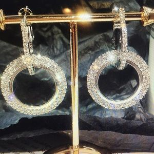 Double Circle Silver Earrings w/Clear Crystals